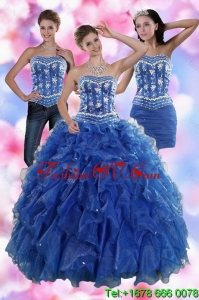 2015 Sophisticated and Pretty Ruffles and Beading Quince Dresses in Royal Blue
