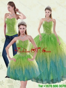 2015 The Super Hot and Pretty Appliques and Ruffles Quince Dresses in Multi Color
