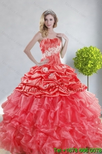 2015 Top Seller and Pretty Watermelon Red Quince Dresses with Appliques and Ruffles
