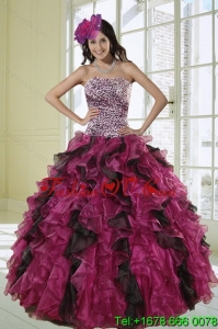 2015 Unique and Pretty Ball Gown Dress for Quinceanera with Leopard Print