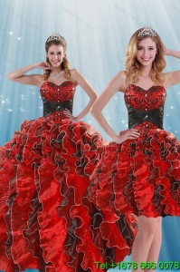 Beautiful and Pretty Multi Color Beading and Ruffles Quince Dresses for 2015