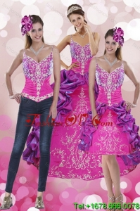 Beautiful and Pretty Pick Ups and Embroidery Multi Color 2015 Quinceanera Dresses with Sweep Train