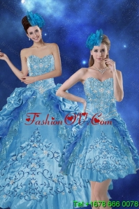 Beautiful and Pretty Teal 2015 Quince Dresses with Embroidery and Pick Ups