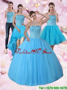Detachable and Pretty Baby Blue Strapless 2015 Quinceanera Dress with Beading