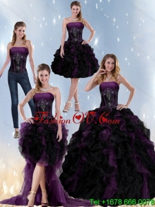 Exclusive and Pretty Multi Color Strapless Quinceanera Dresses with Beading and Ruffles