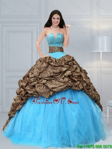 Luxurious and Pretty 2015 Baby Blue Leopard Printed Quinceanera Dresses with Beading