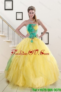Popular and Pretty 2015 Strapless Yellow and Green Sweet 15 Dresses with Ruching
