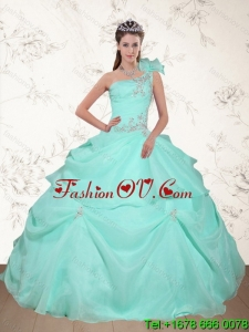 Pretty Beading and Appliques 2015 Dress for Quince in Apple Green