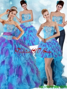 Pretty Multi Color Strapless Quinceanera Dress with Ruffles and Sash