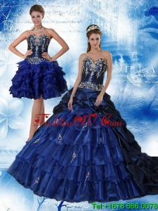 Pretty Navy Blue Sweetheart Quinceanera Dress with Ruffles and Embroidery