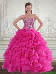Pretty Sweetheart Hot Pink 2015 Quinceanera Gown with Beading and Ruffles
