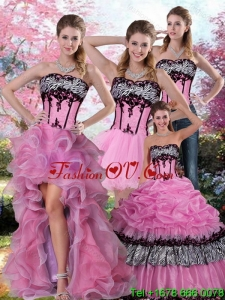 Pretty Zebra Printed Multi Color Quinceanera Dress with Pick Ups and Appliques