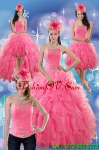 2015 Beautiful and Pretty Rose Pink Strapless Dresses for Quince with Ruffles and Beading