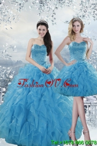 2015 Fashionable and Pretty Baby Blue Dresses for Quince with Beading and Ruffles