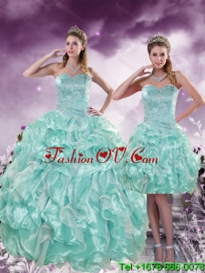 2015 Fashionable and Pretty Beading and Ruffles Aqual Blue Quince Dresses