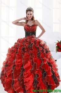 2015 Modern and Pretty Multi Color Beading and Ruffles Dresses for Quince