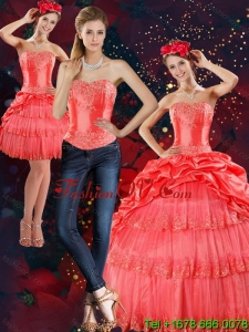 2015 Pretty Strapless Quinceanera Dresses with Pick Ups and Beading
