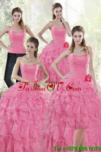 2015 Pretty and Unique Baby Pink Quince Dresses with Beading and Ruffles