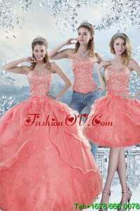 2015 Unique and Pretty Watermelon Quinceanera Dresses with Beading