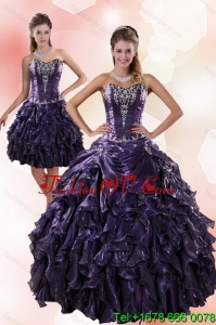 Classic and Pretty Sweetheart Ruffled 2015 Quinceanera Dresses with Embroidery