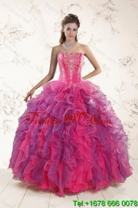Fashionable and Pretty Multi Color Ruffles and Appliques Quince Dresses