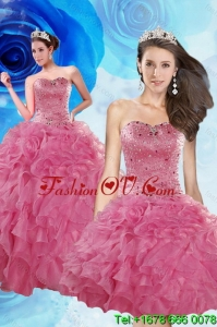 Luxurious and Pretty Coral Red Quince Dresses with Beading and Ruffles