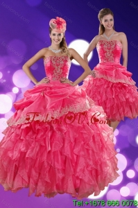 The Super Hot and Pretty Strapless Quince Dresses with Ruffles and Appliques