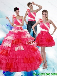 Unique One Shoulder Ruffled Layers and Beading Multi Color Quinceanera Dresses for 2015