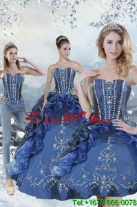 Wonderful Blue Sweet16 Dresses with Embroidery and Beading for 2015