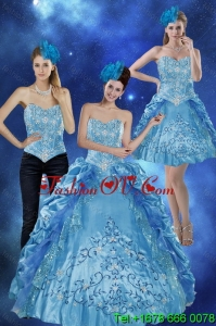 2015 Unique Sweetheart Teal Quinceanera Gown with Embroidery and Pick Ups