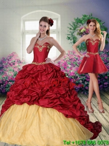 Pretty and Unique 2015 Sweetheart Wine Red Brush Train Quinceanera Dress with Beading