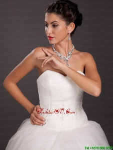 Gorgeous Rhinestone and Imitation Pearl Bridal Jewelry Set Including Necklace With Earrings