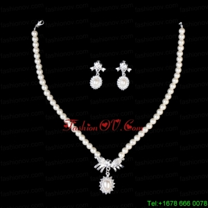 Ivory Pearl Alloy Plated Ladies Necklace and Earrings Jewelry Set