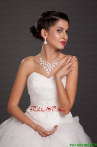 Luxurious Rhinestone Imitation Pearl Ladies Jewelry Set Including Necklace And Earrings