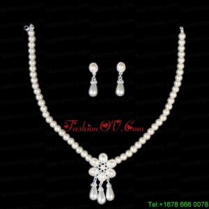 Vintage Style Pearl With Alloy Plated Necklace And Earring Set