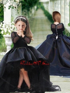 Cheap See Through Long Sleeves Flower Girl Dress in Navy Blue