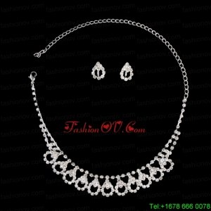 Chic Alloy With Rhinestone Womens Jewelry Set Including Necklace And Earrings