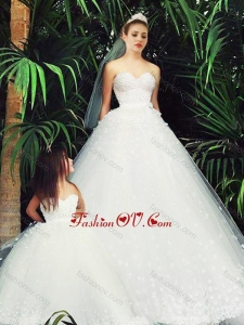Delicate A Line Sweetheart Wedding Dresses with Appliques and New Style Applique Flower Girl Dress in White