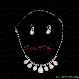 Elegant Pearl With Rhinestone Necklace And Earring Set