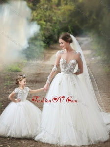 Feminine See Through Long Sleeves Wedding Dresses with Appliques and Lovely Big Puffy Flower Girl Dress with Hand Made Flowers