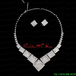 Luxurious Alloy Plated Rhinestone Necklace and Earrings Jewelry Set
