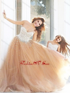 Unique Beaded Prom Dress with Brush Train and Cheap Sweetheart Little Girl Dress with Beading