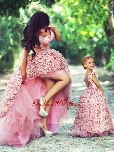 Unique High Low Prom Dress in Special Material and Perfect Applique Little Girl Dress with Straps