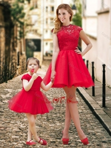 Unique High Neck Backless Prom Dress in Red and Beautiful Mini Length Little Girl Dress with Cap Sleeves