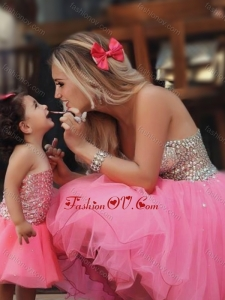 Unique Knee Length Prom Dress with Beading and New Style Beaded Little Girl Dress with Strapless