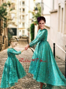 Unique Long Sleeves Prom Dress with Lace and Modest High Low Little Girl Dress with Half Sleeves