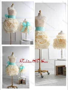 Unique Rolling Flowers Prom Dress with Sashes and Discount Scoop Little Girl Dress with Rolling Flowers