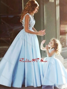 Unique V Neck Satin Prom Dress with Appliques and Most Popular Big Puffy Little Girl Dress with Straps