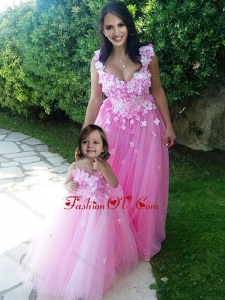 Beautiful Deep V Neckline Unique Prom Dress with Appliques and Hot Sale Rose Pink Little Girl Dress with See Through Scoop