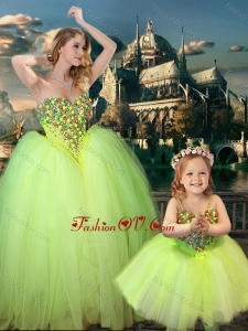 Unique Beaded Really Puffy Prom Dress in Yellow Green and Classical Spaghetti Straps Little Girl Dress with Beading